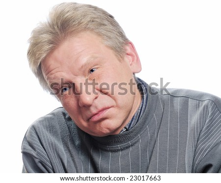 man in depression on isolated background - stock photo