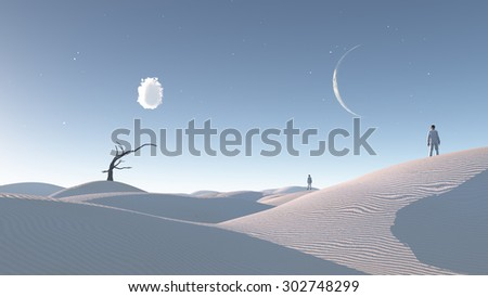 Man in desert with bare tree and moon Surreal Haunting Desert - stock photo
