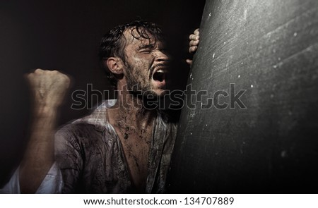 Man in despair - stock photo