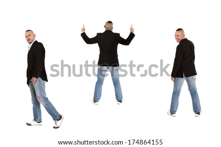 man in different emotions - stock photo
