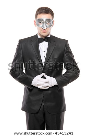 Man in disguise isolated on white background - stock photo