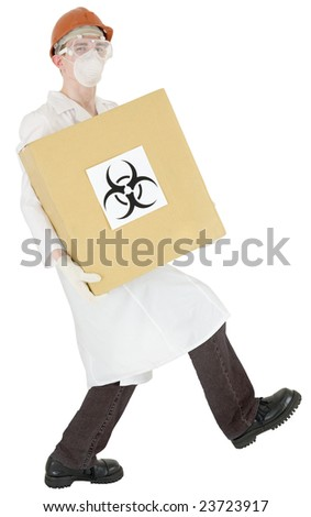 Man in doctor's smock and cardboard box with biohazard on white