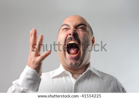 man in extreme rage - stock photo