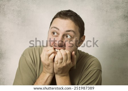 Man in fear - stock photo