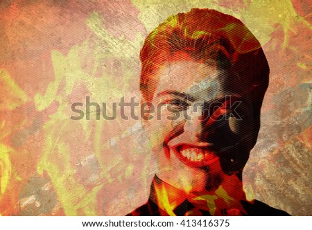 man in flames with evil grin and cracked texture overlay - stock photo