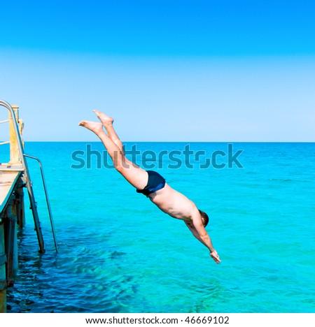 Man in flight - stock photo