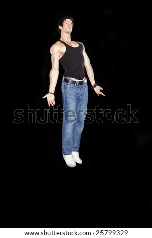 Man in Floating Angel Pose - stock photo