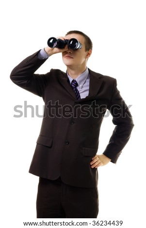 Man in formal suit look into binoculars,isolated on white