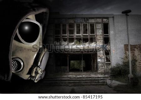 Man in gas mask. Apocalypse scene. - stock photo