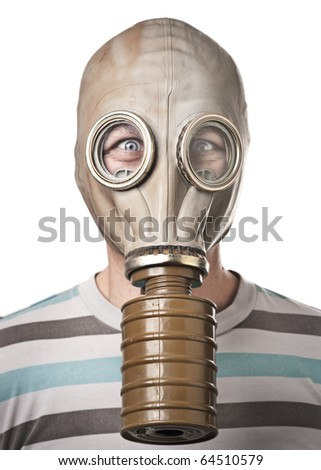 Man in gas mask looking surprised. Isolated on white - stock photo