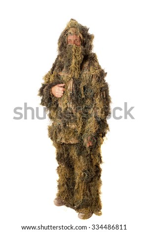 Man in Ghillie suit isolated on white - stock photo