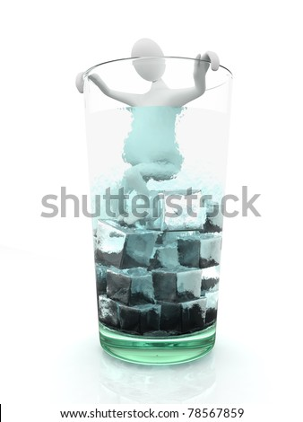 Man in glass full of ice - stock photo