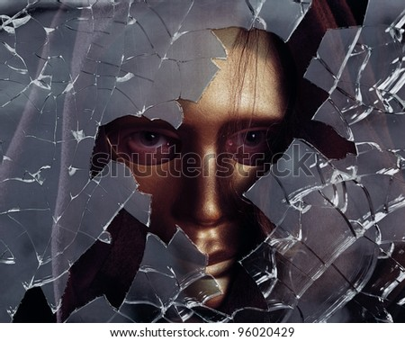 man in gold mask,focus on a center. - stock photo
