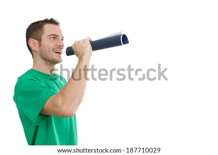 Man in green with megaphone - orator - isolated on white