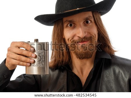 man in hat proposing a toast, on white background