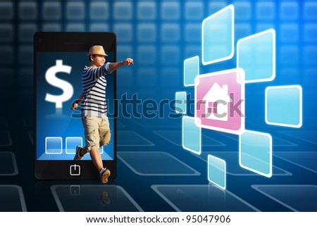 Man in hat walk out from mobile phone to get house icon - stock photo