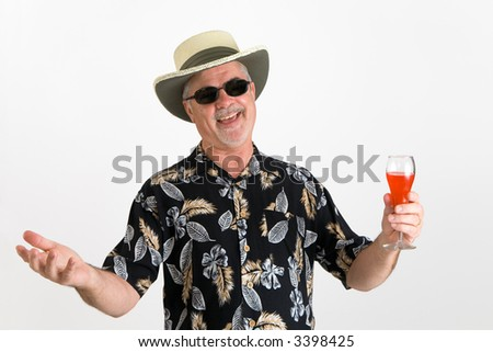 Man in hawaiian shirt, happy and relaxed - stock photo