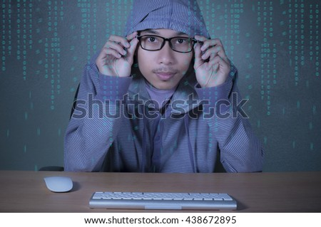 Man in hoodie shirt is hacker