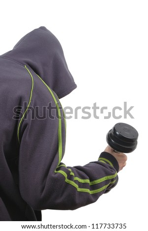 man in hoody with dumbell