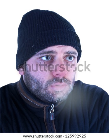 man in hypothermia on a white background.