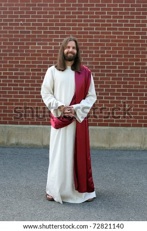Man in Jesus Christ robe and sash