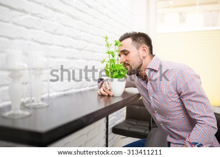 Man in kitchen smelling basil herb at kitchen table.