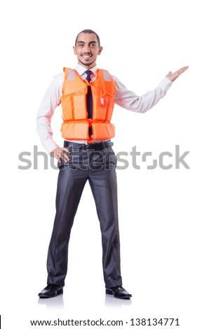 Man in life jacket isolated on white - stock photo