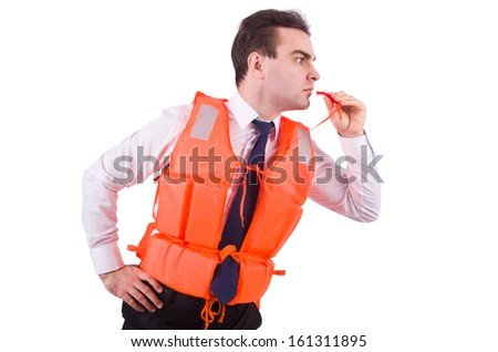 Man in life jacket isolated on white - stock photo