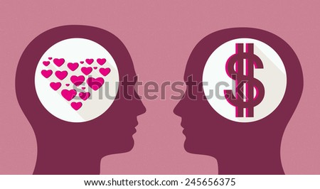 Man in love and mercantile woman. Gender relations - stock photo