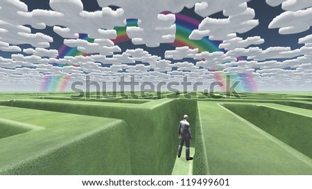 Man in maze with puzzle clouds - stock photo