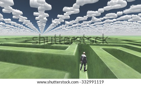 Man in maze with question mark shaped clouds - stock photo