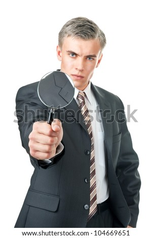 man in office clothes on a white background - stock photo