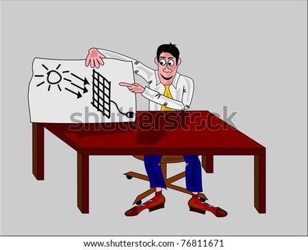 man in office with solar panel