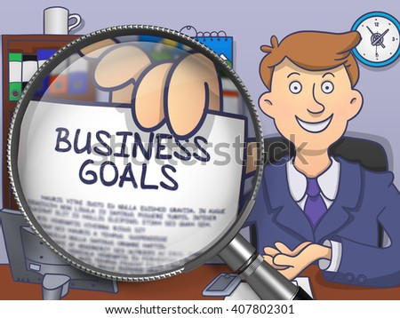Man in Office Workplace Showing a Text on Paper Business Goals. Closeup View through Lens. Multicolor Modern Line Illustration in Doodle Style. - stock photo