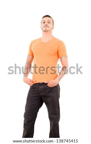 Man in Orange Shirt - stock photo