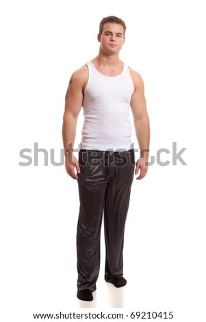 Man in Pajamas - stock photo