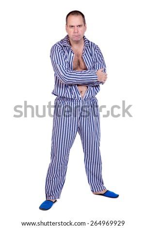 man in pajamas on white background - stock photo