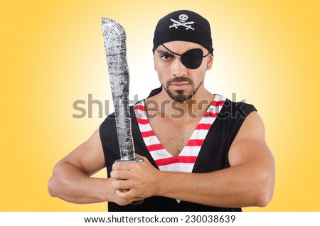 Man in pirate costume in halloween concept - stock photo