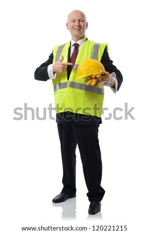 man in PPE Concept for using safety equipment isolated on white - stock photo