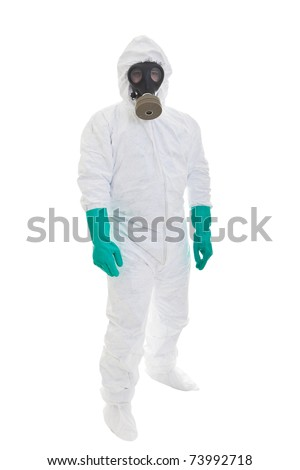 Man in  protective clothing and a gasmask on a white background - stock photo