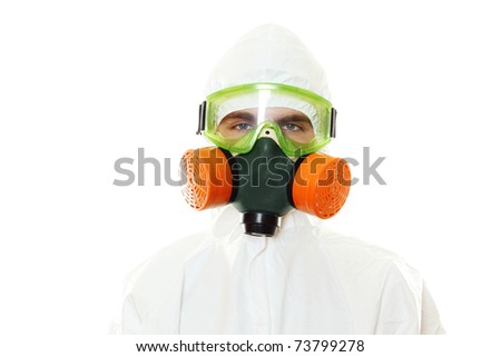 Man in protective suit, a mask and a respirator. Isolated on white - stock photo