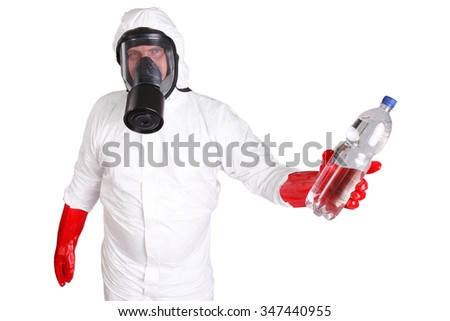 Man in protective suit with a bottle of pure water isolated on white - stock photo