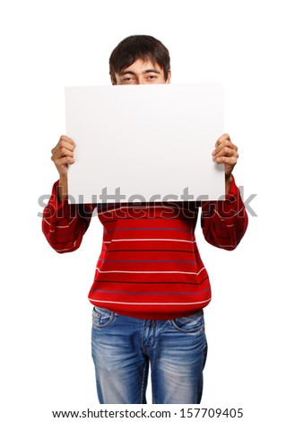 Man in red pullover shows up presentation isolated on white background