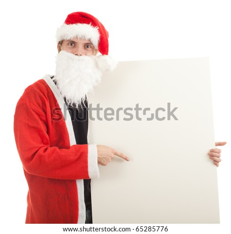 man in red Santa clothes with billboard - stock photo