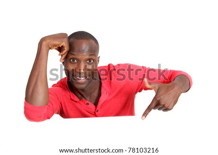 Man in red shirt showing whiteboard - stock photo