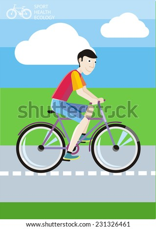 Man in red T-shirt riding his bike on the road among green fields. Raster version - stock photo