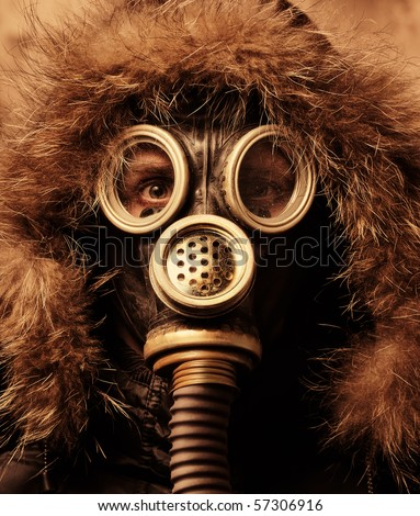 Man in respirator - stock photo