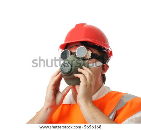 man in respirator isolated over white background - stock photo