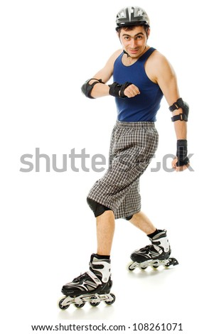 man in roller skates on a white background - stock photo