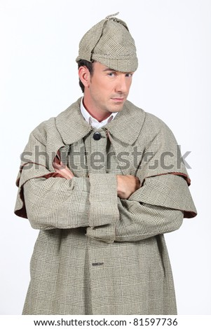 Man in Sherlock Holmes outfit - stock photo